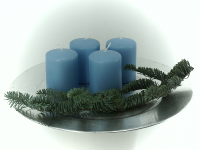 Stumpen Kerzen hellblau